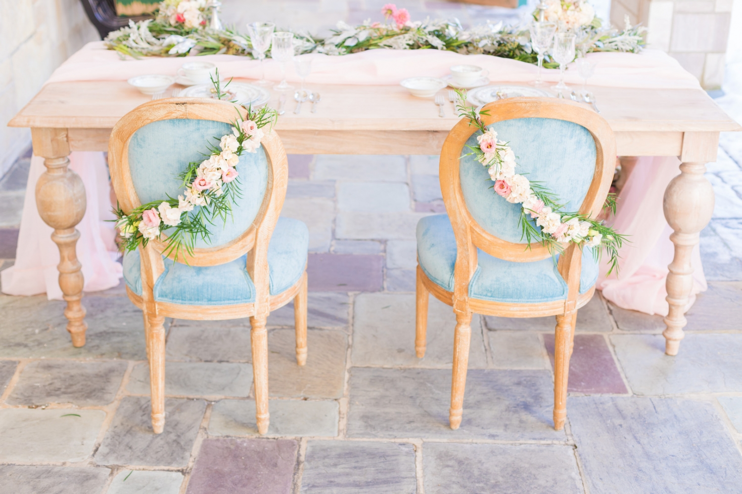 dusty blue and blush wedding