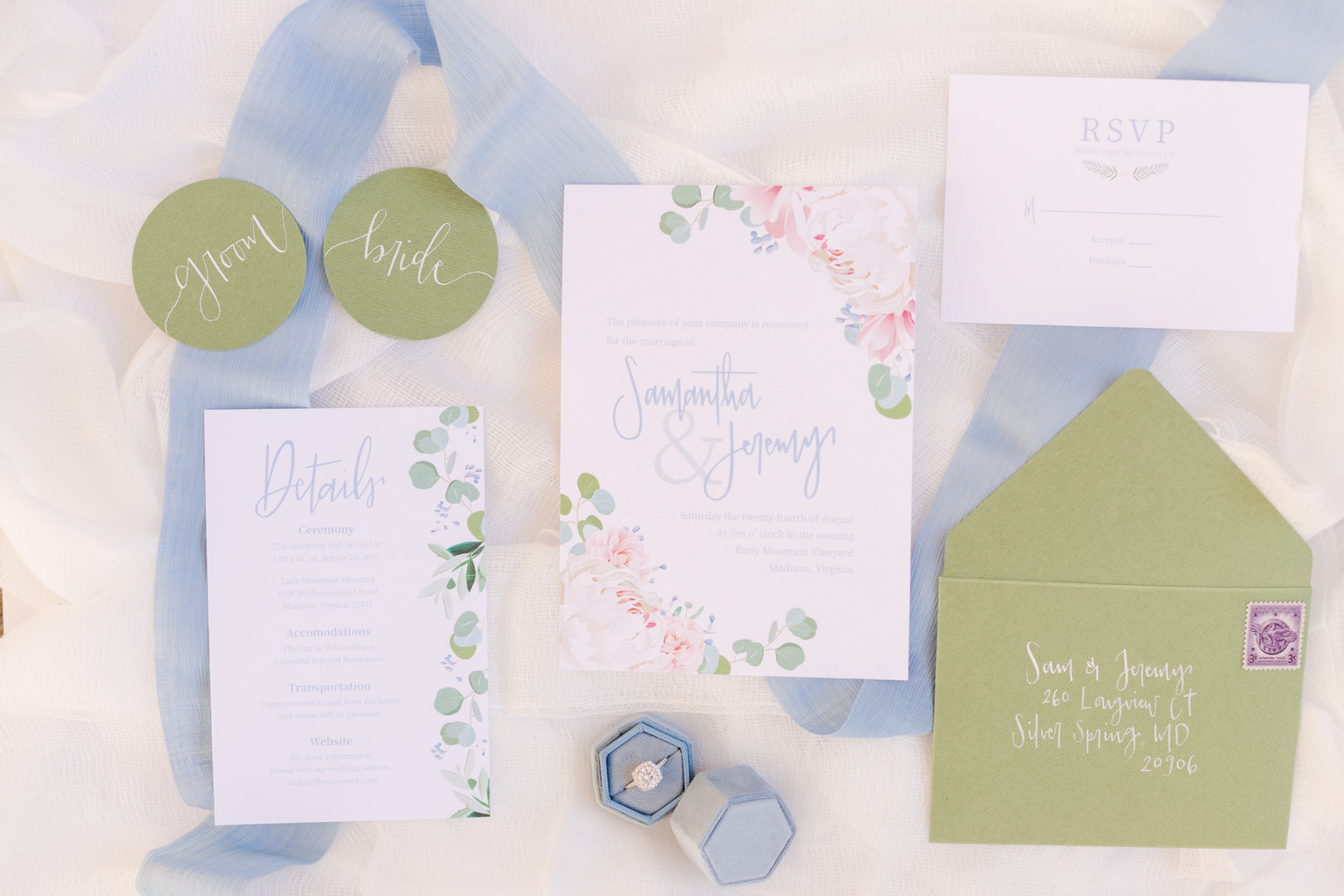 pastel light blue floral invitaions