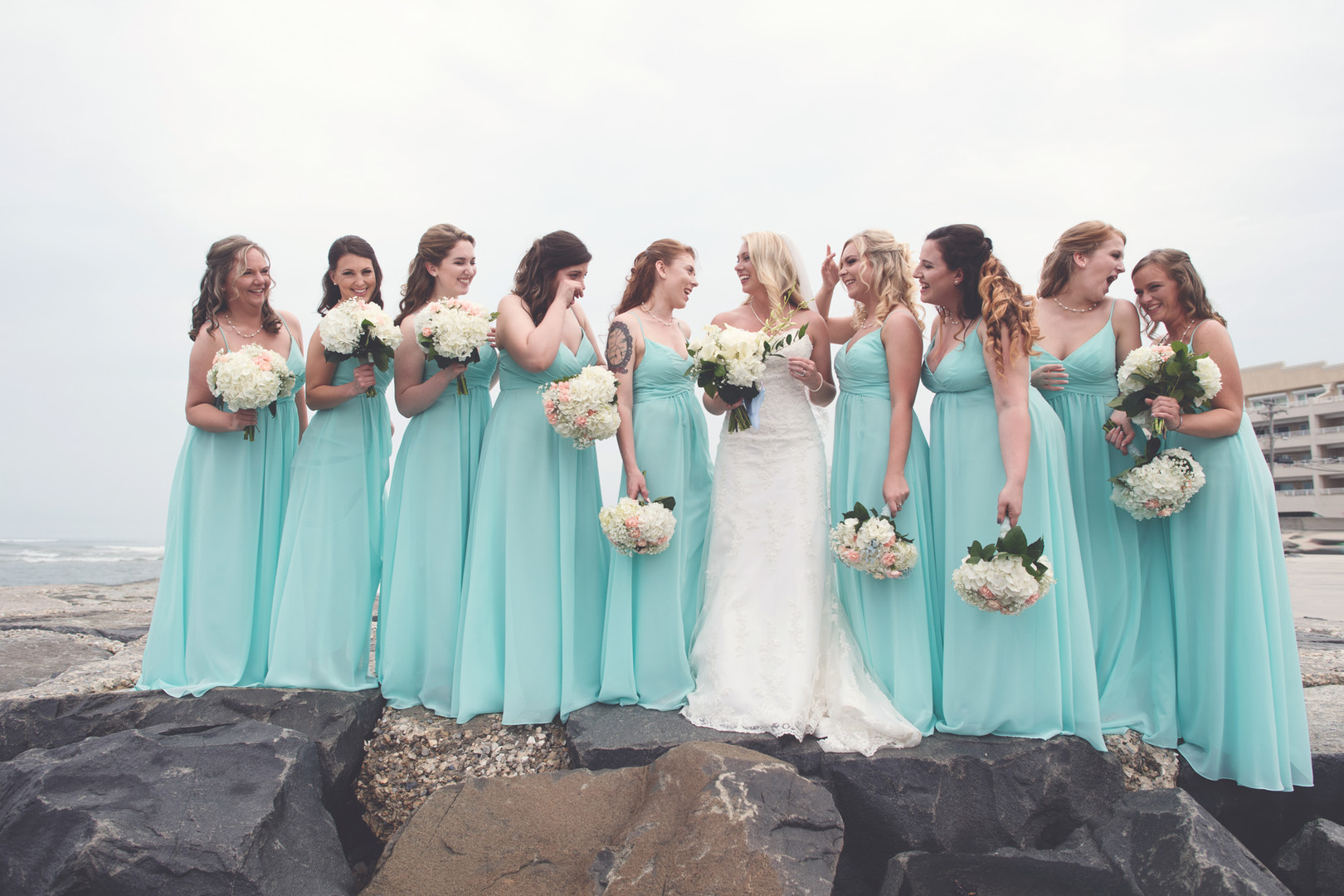wildwood nj bridal party photo on the beach