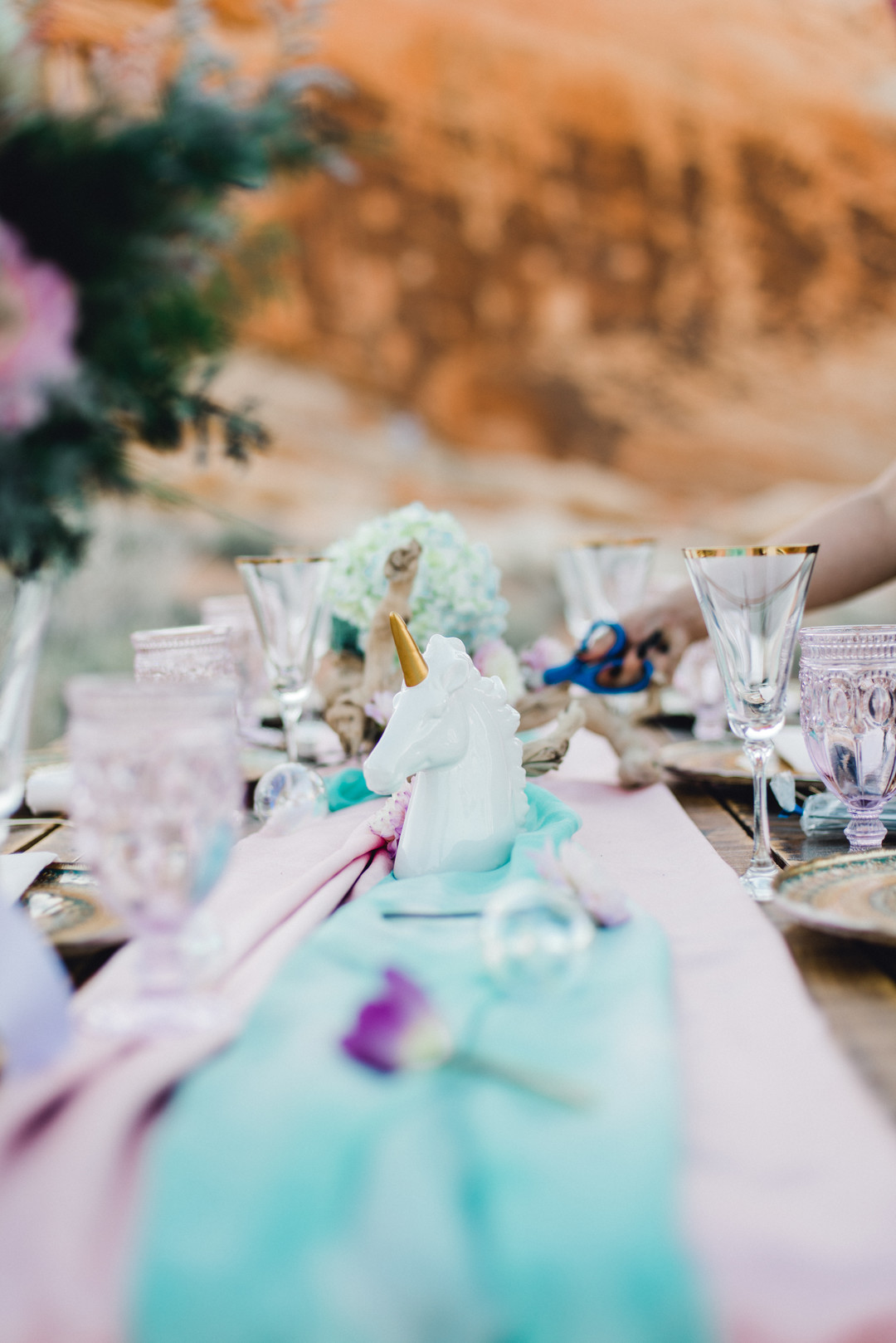 unicorn wedding centerpiece