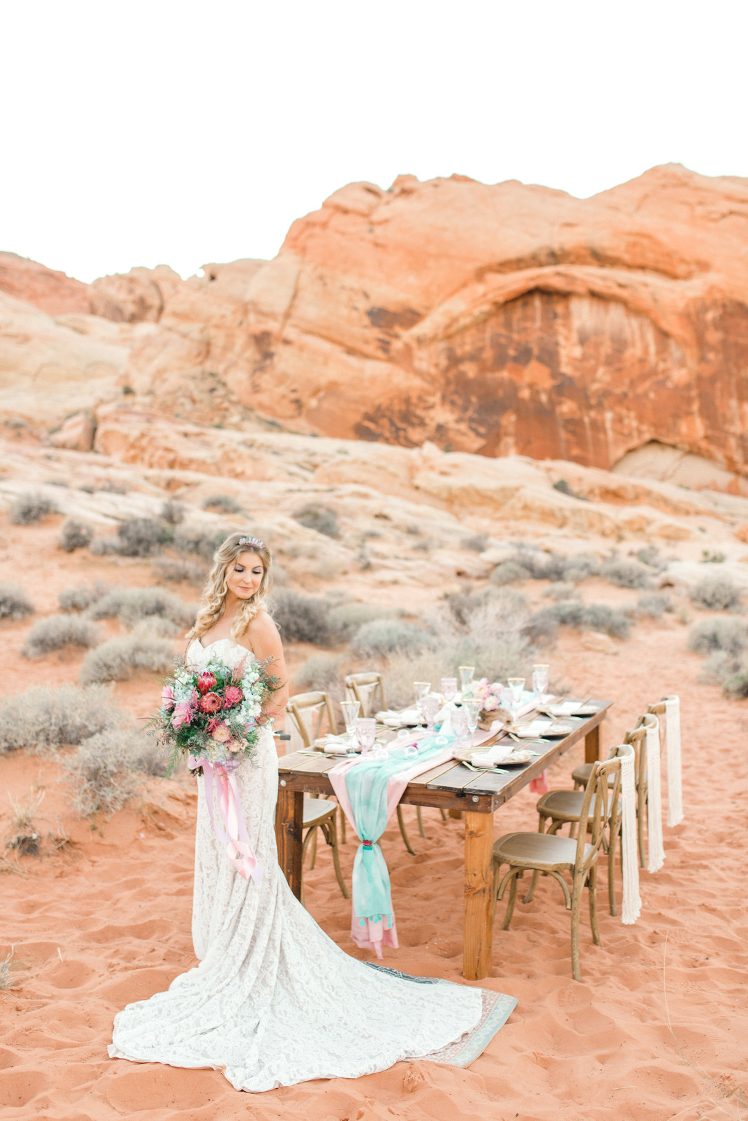 bride at pink and blue unicorn themed wedding