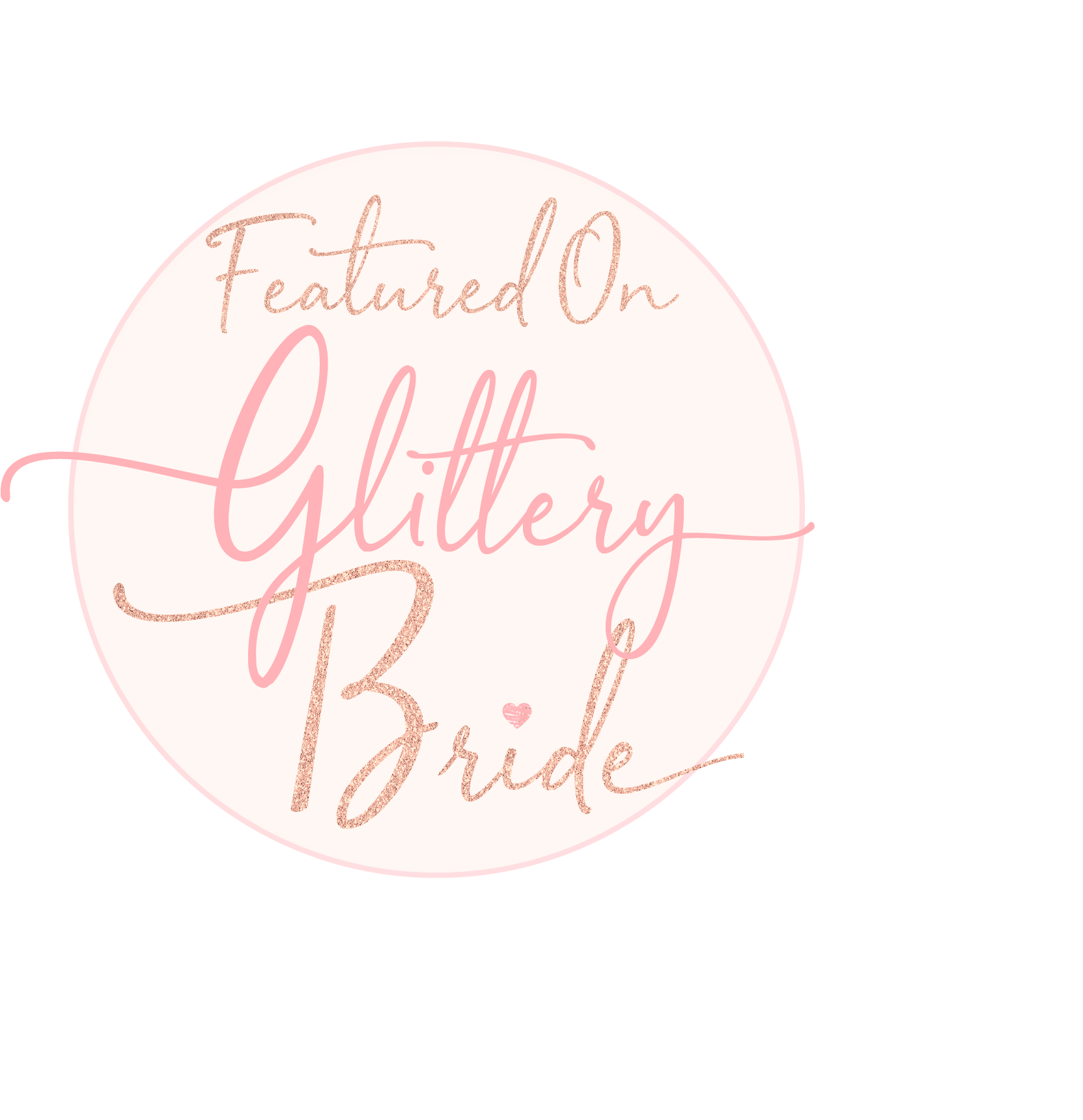 featured on glittery bride badge