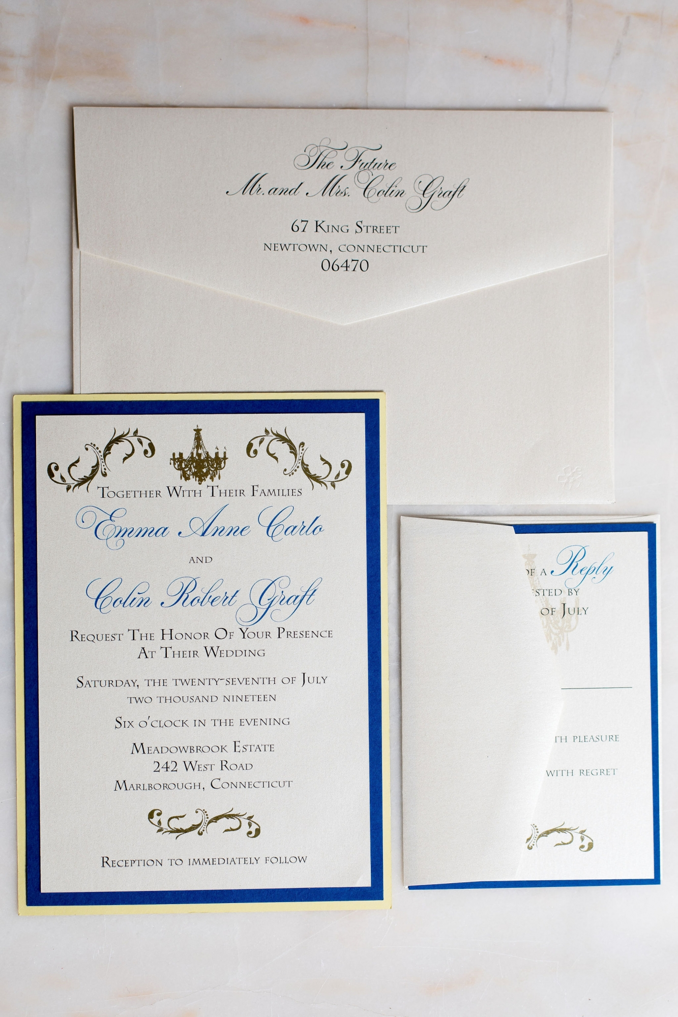 navy blue and gold invitations