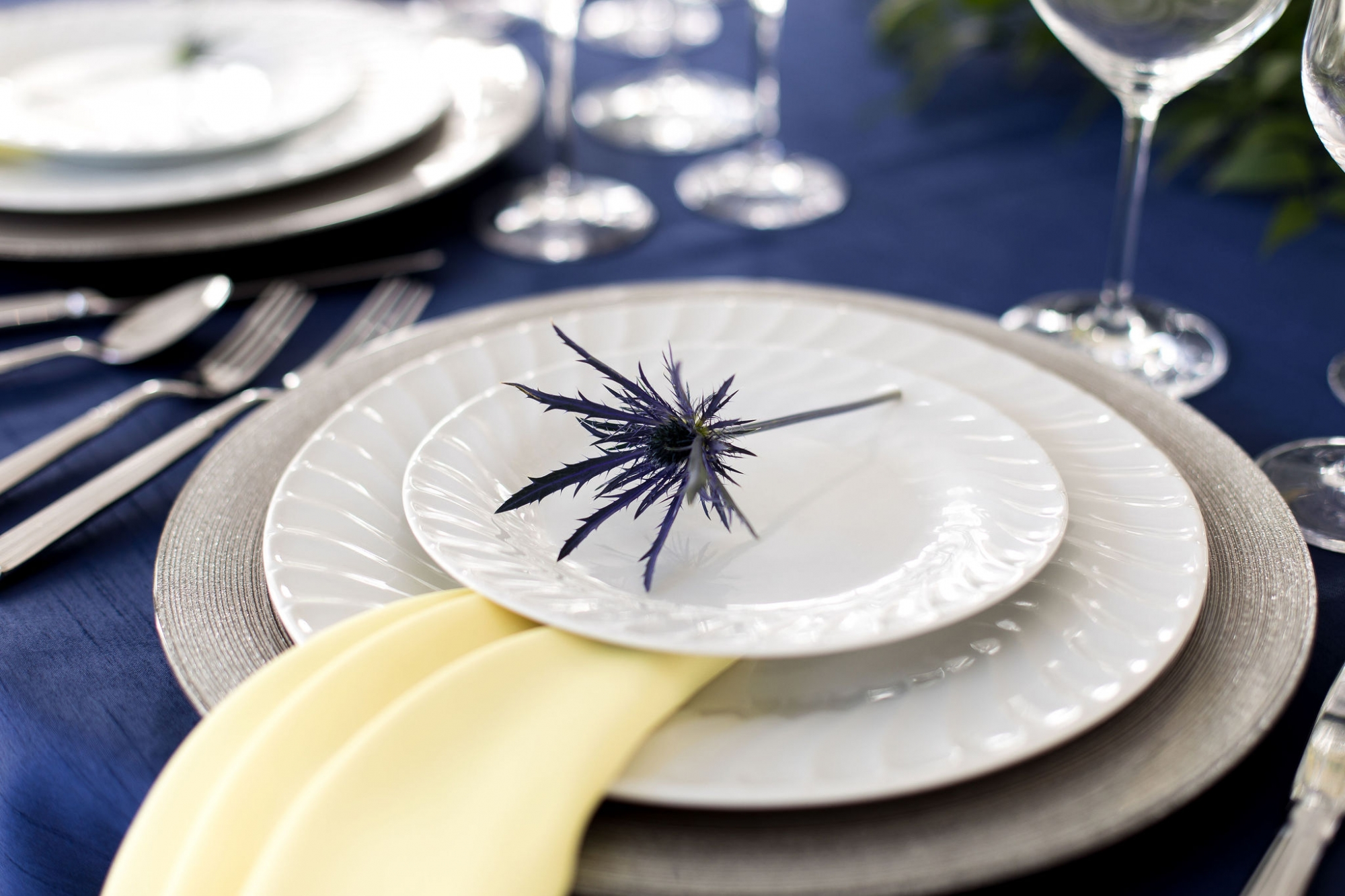 yellow and blue place setting