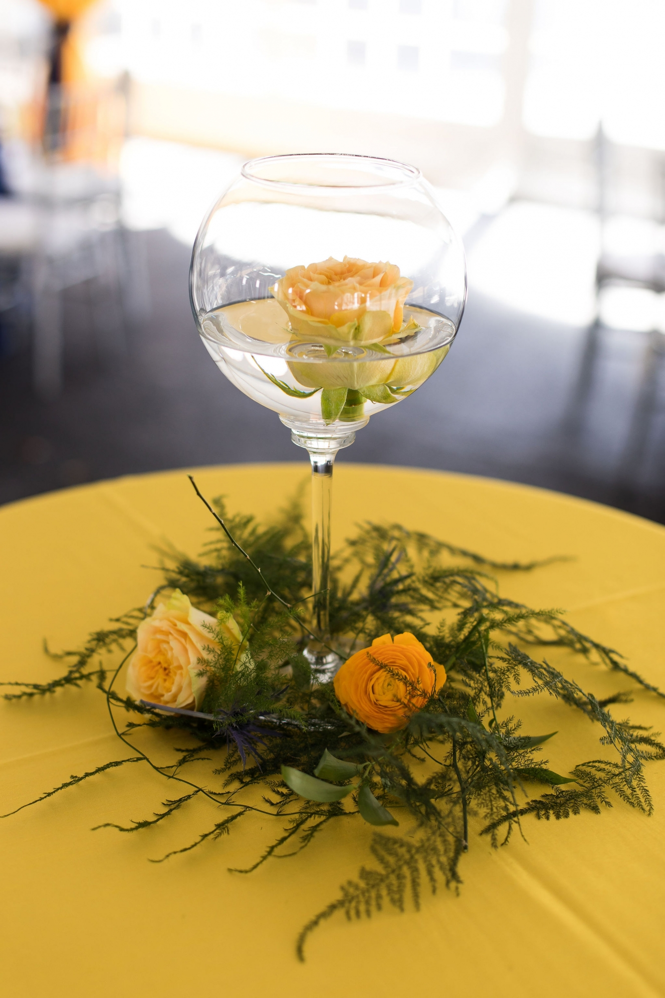 floating flower yellow centerpiece