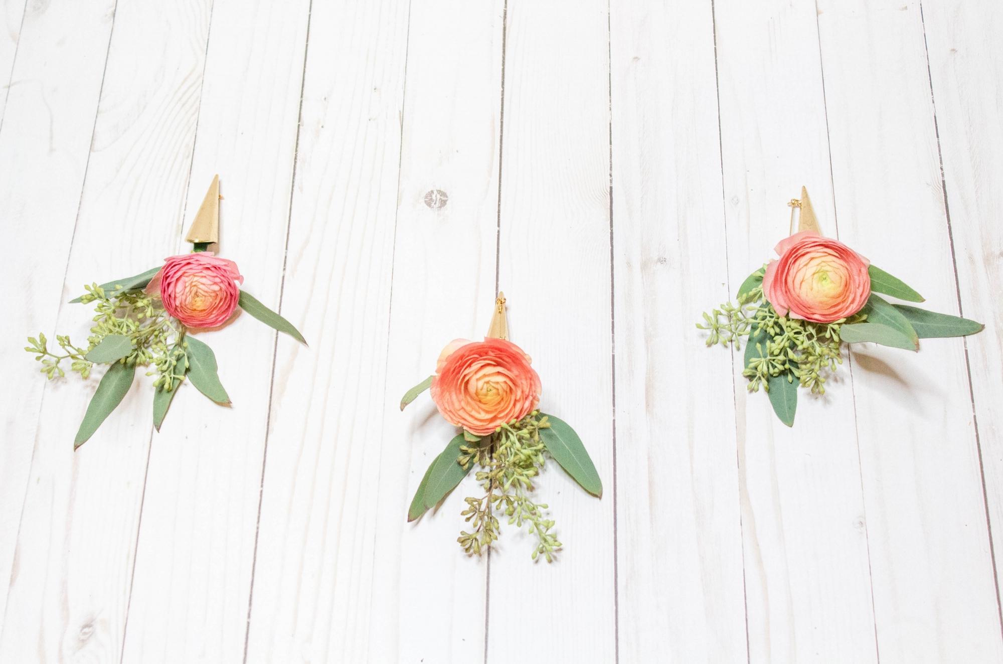 peach ranunculus boutonniere