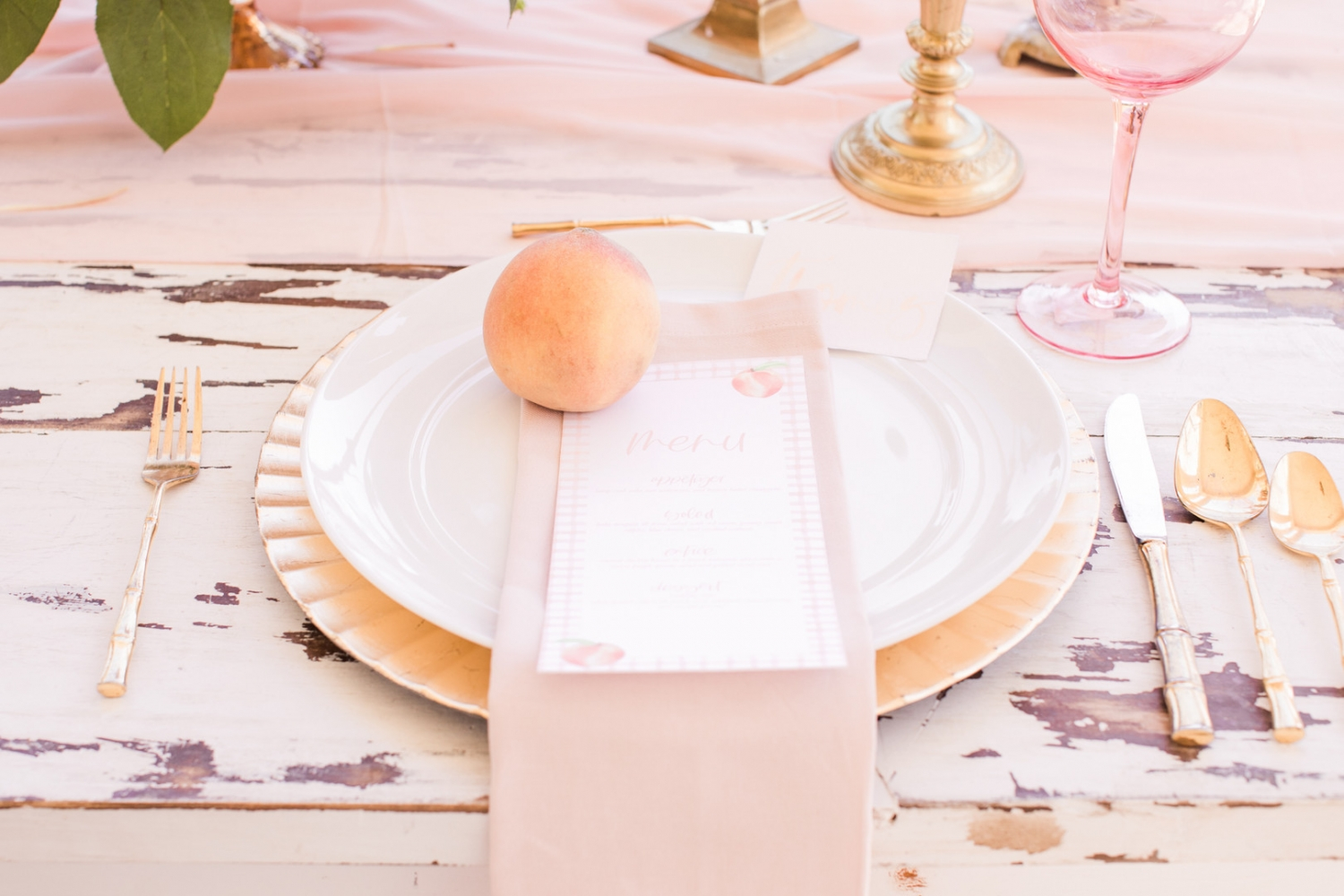 Peach inspired table place setting