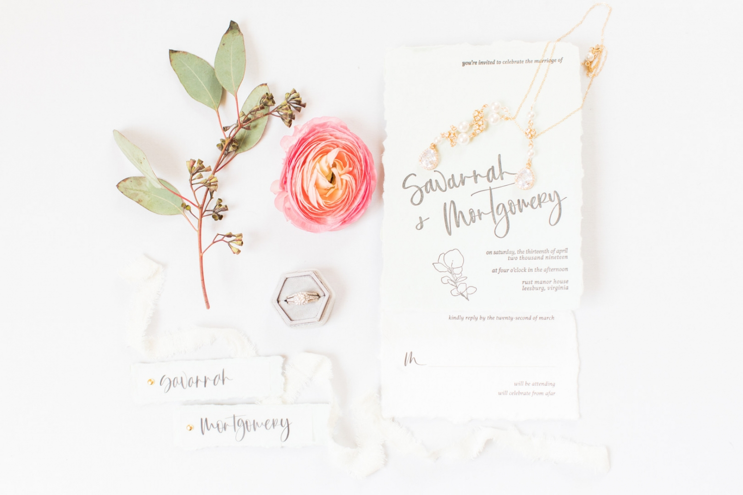Peach Themed Wedding Invitation and Accessories