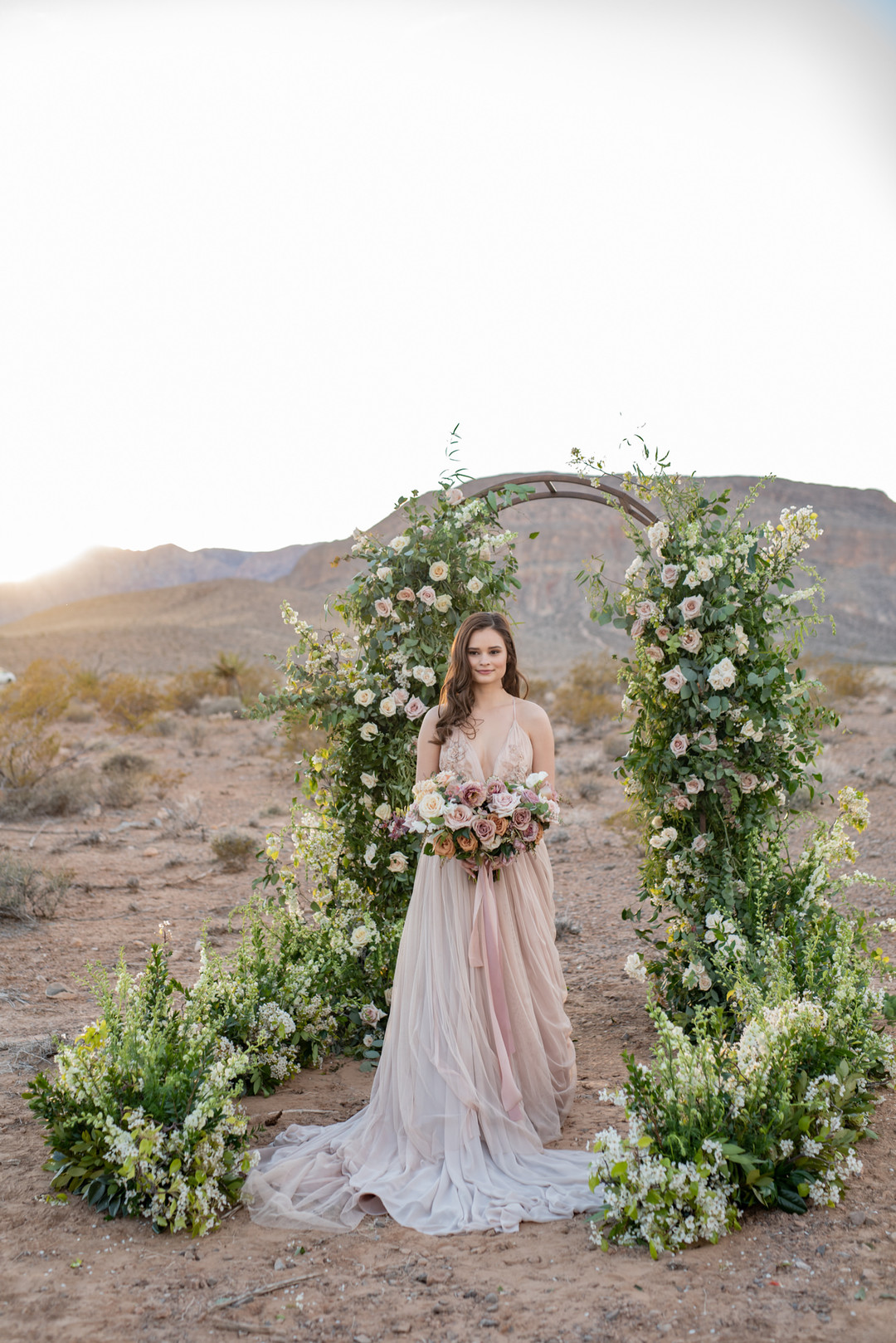 Floral backdrop arbor arch for wedding ceremony