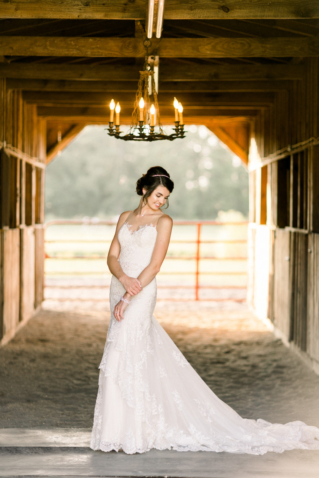 wedding barn with chandelier