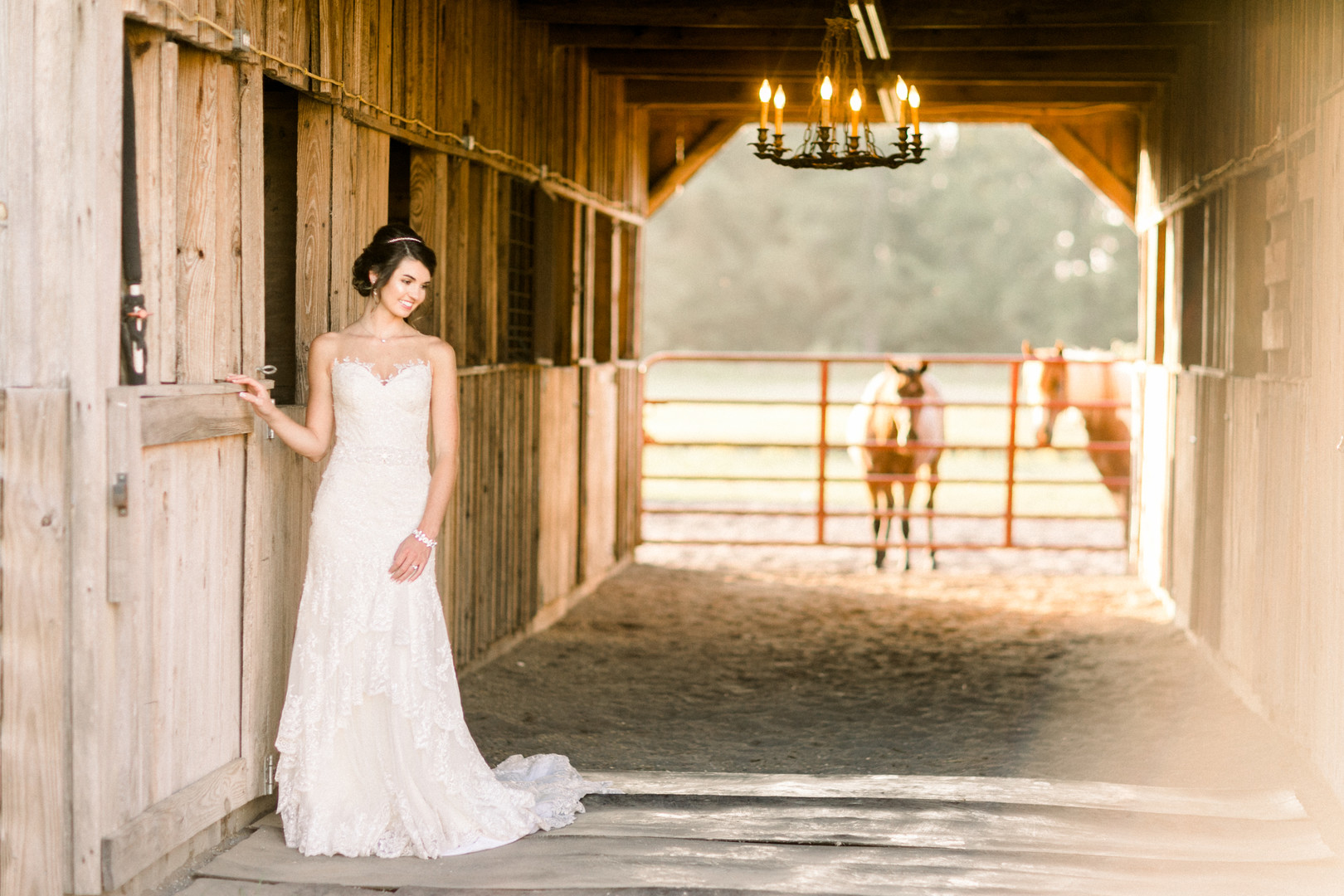 Bride photos in a horse stable