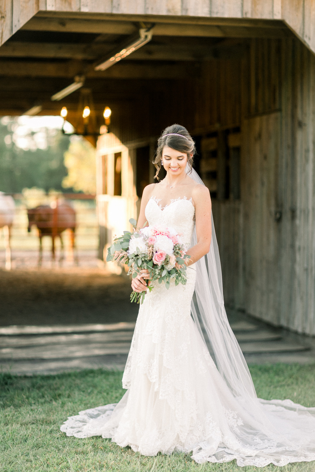 Barn Bridal Portrait in Horse Stable