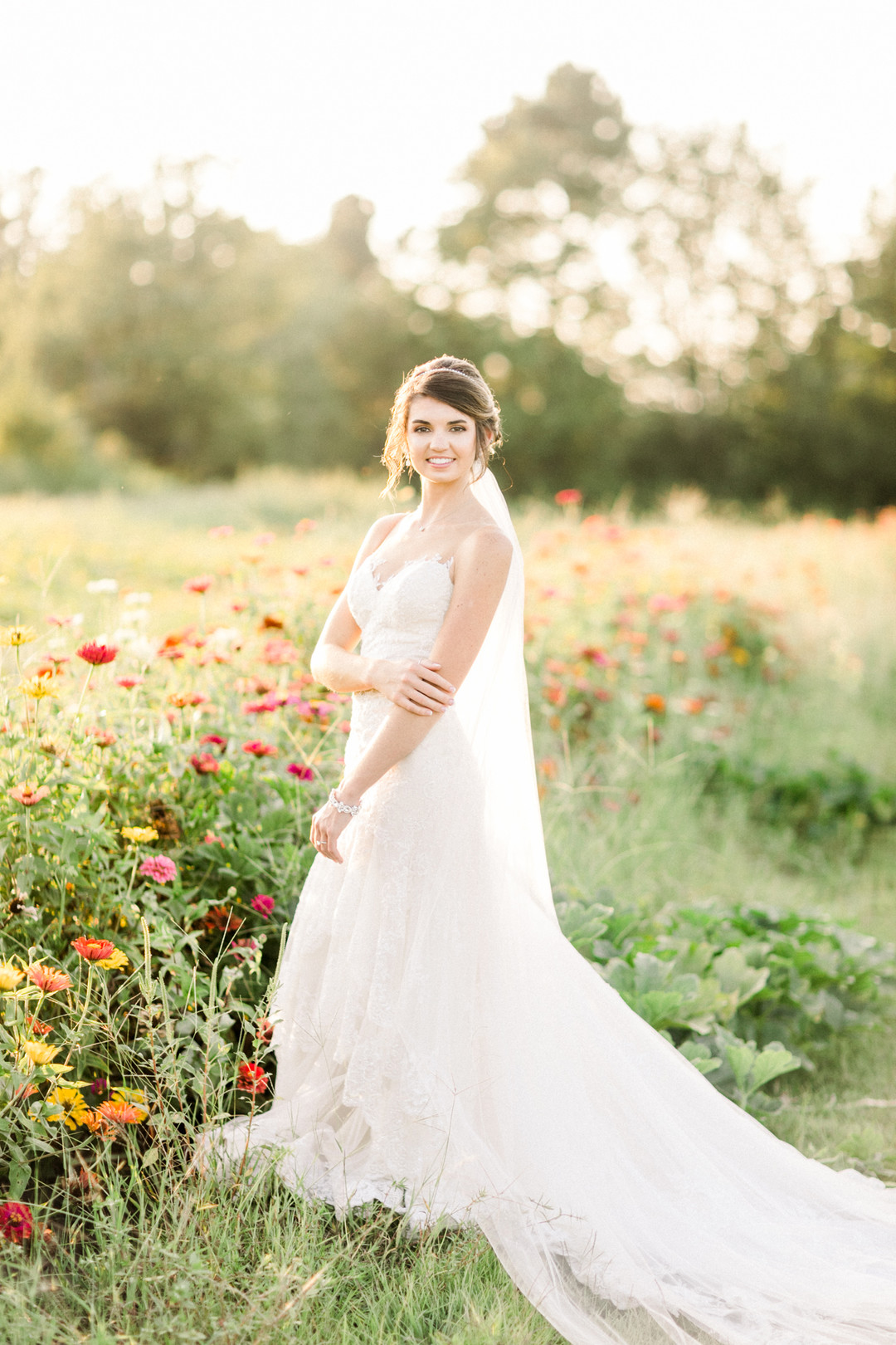 bride in a wildflower field