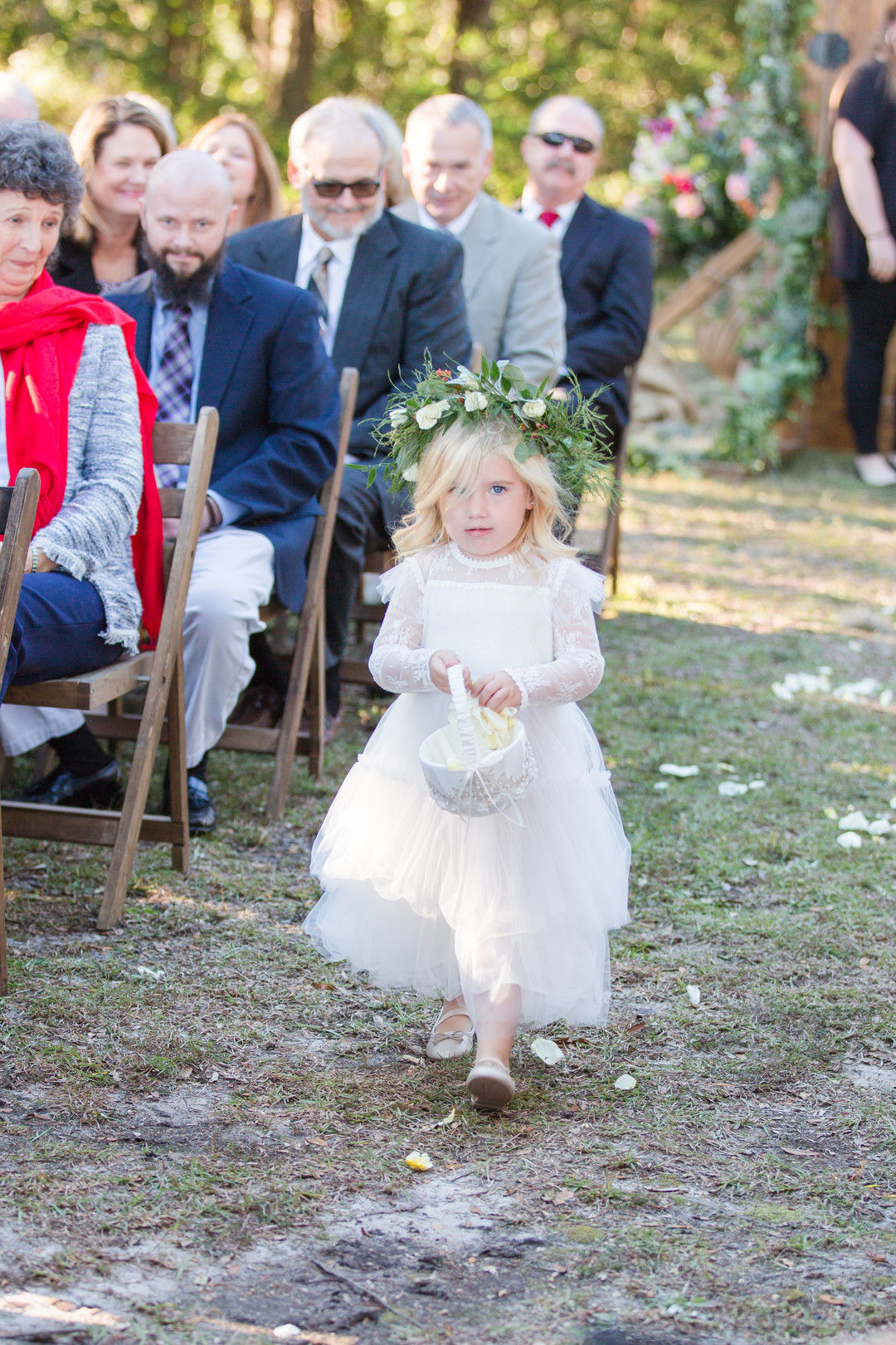 adorable flower girl with flower crown