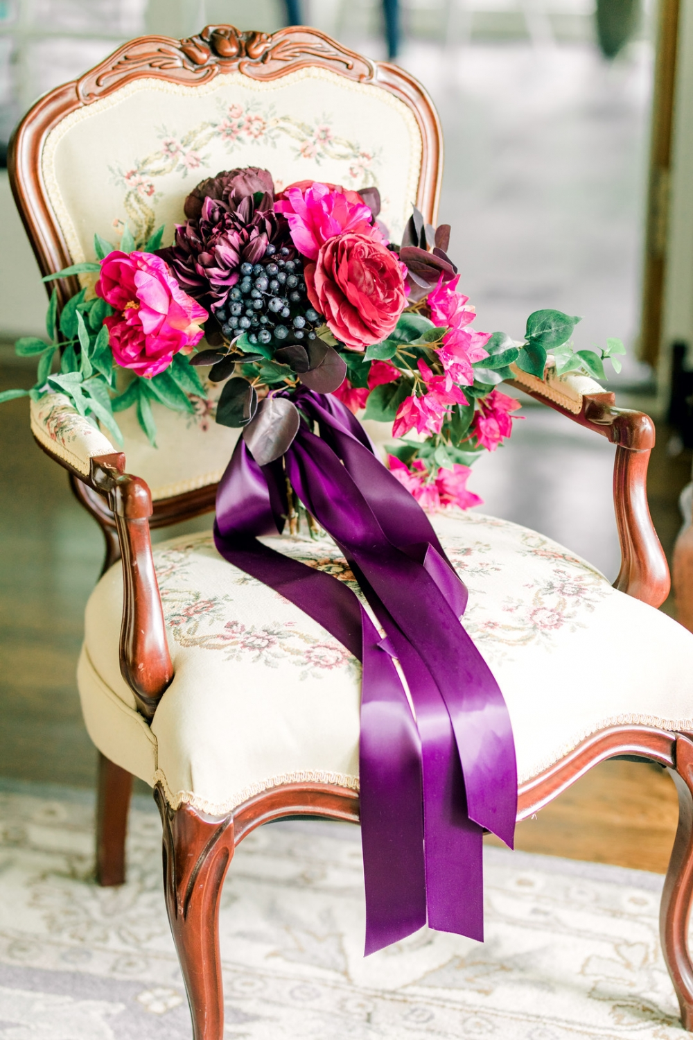 Gorgeous and Vibrant Magenta and Purple Ribbon bouquet