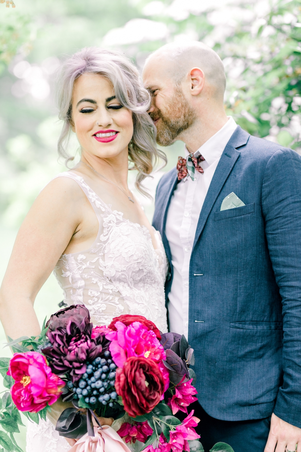 Bride with pink lipstick and matching bouquet