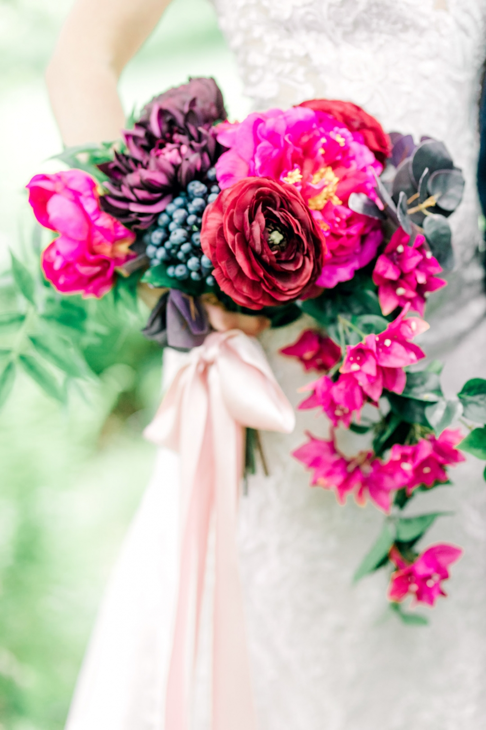 Gorgeous wedding bouquet with bright pink flowers
