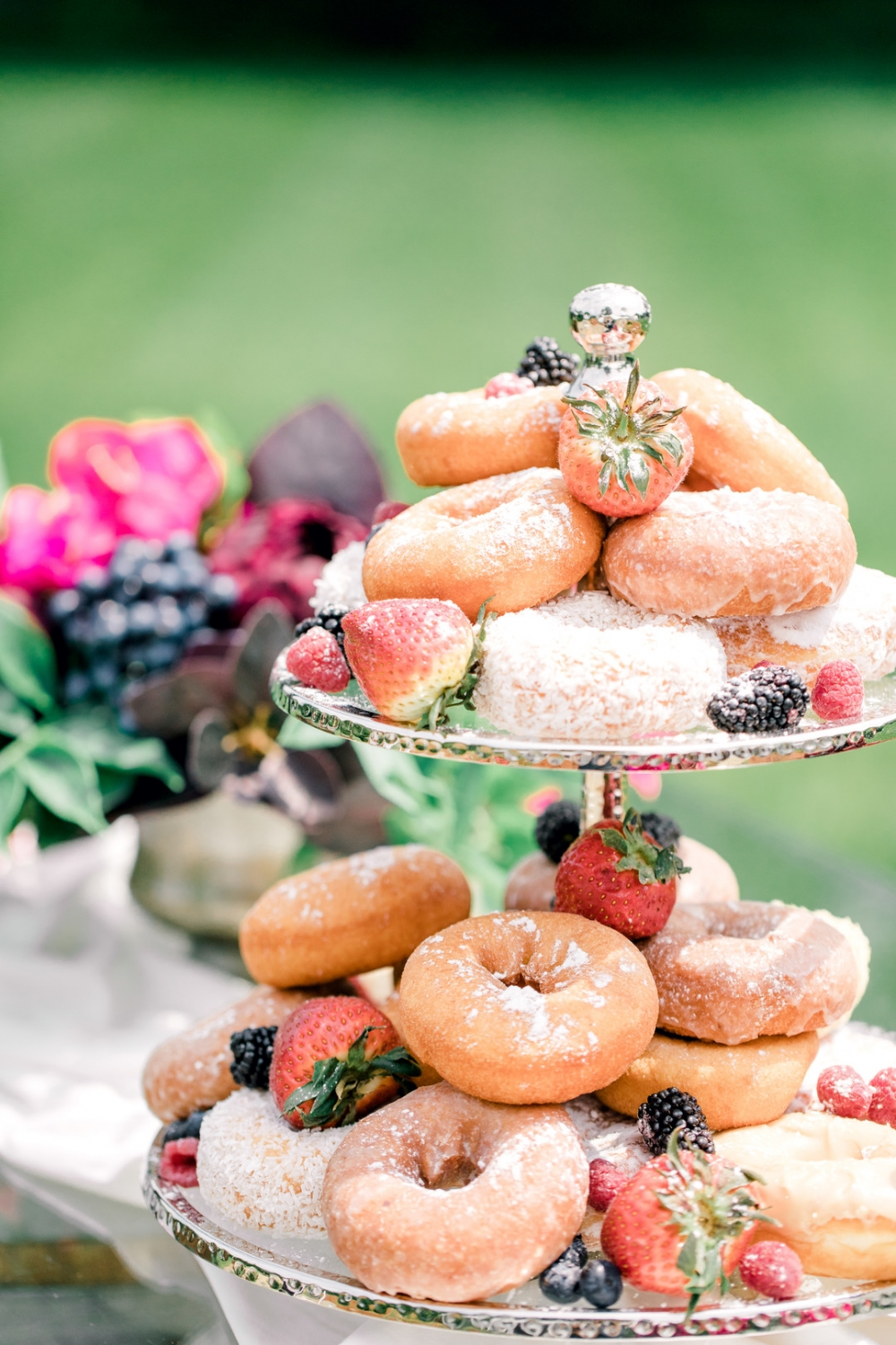 Donut tower with fresh fruit and berries