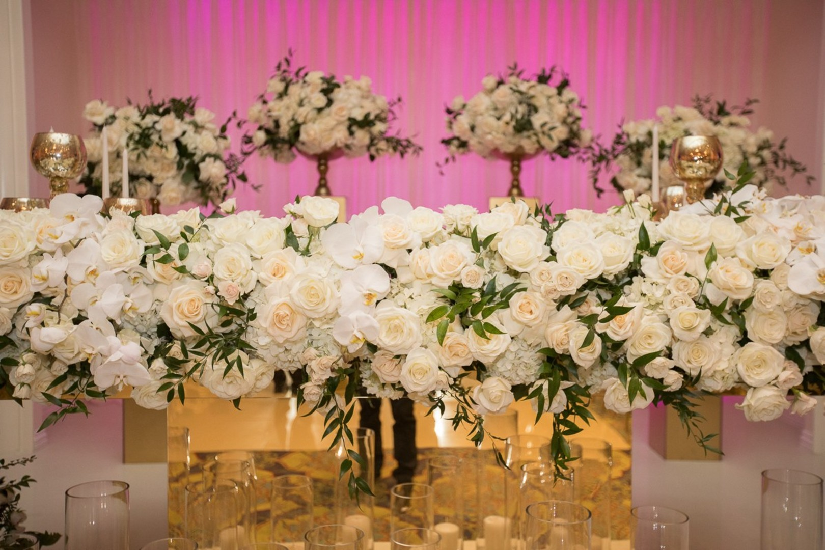 DWTS' Emma Slater and Sasha Farber's Wedding, Bella Blanca Event Center, all white floral arrangements