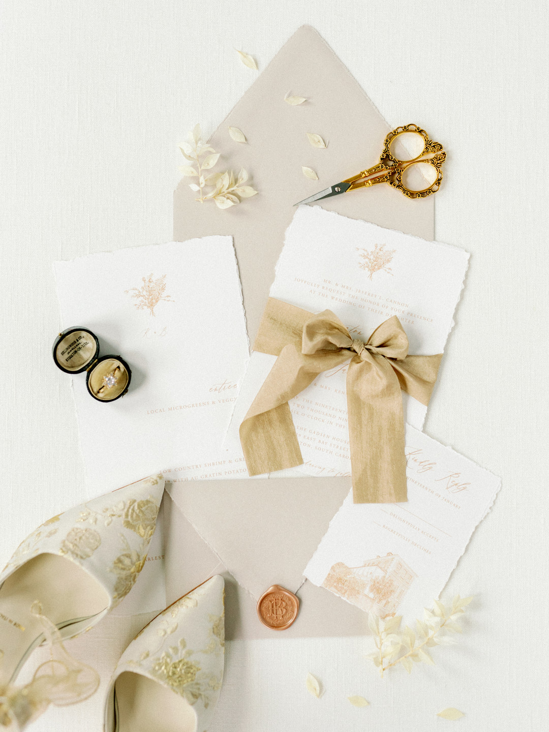 light gold invitation suite