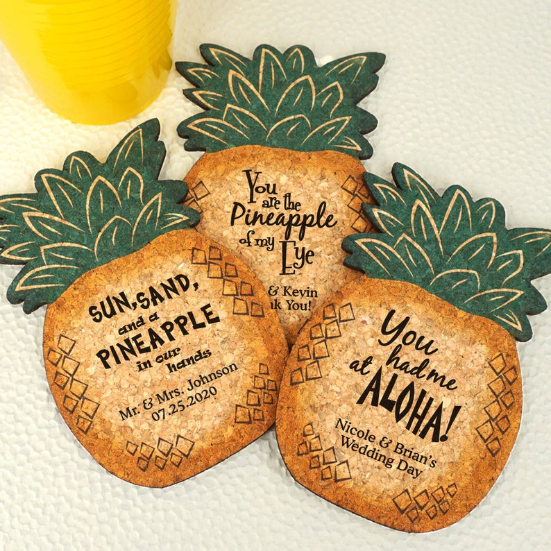 Personalized pineapple coaster wedding favors