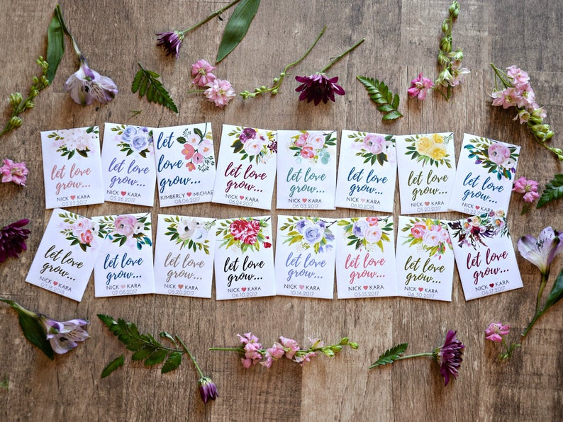 seed wedding favors - let love grow