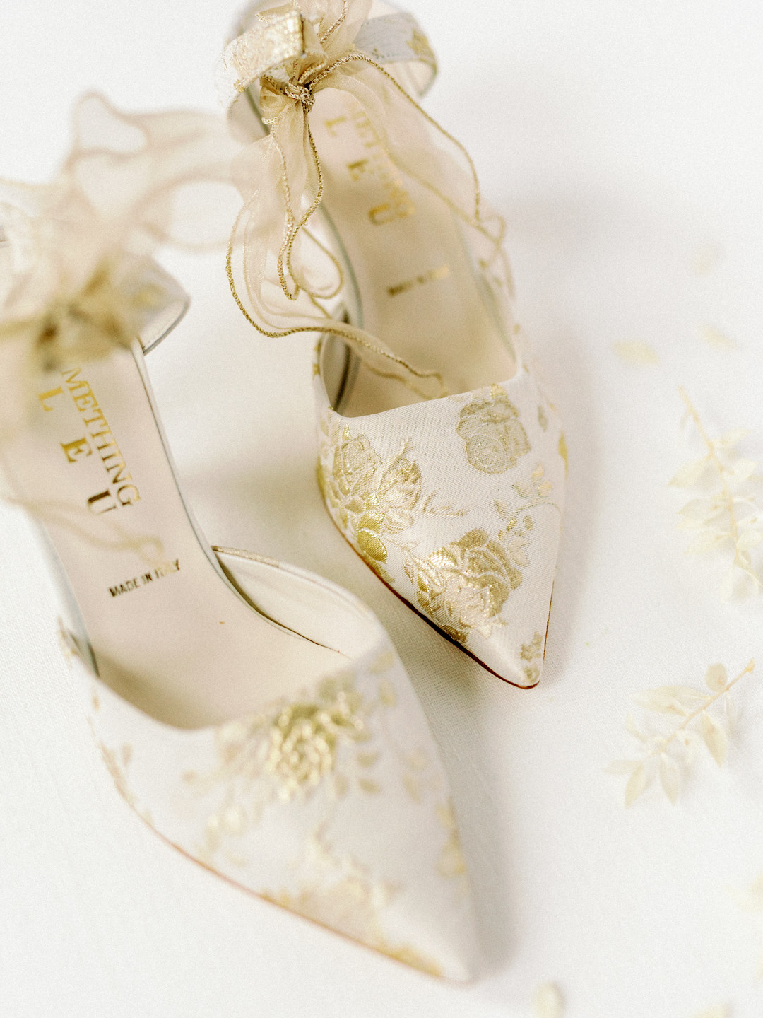 gold embroidered wedding shoes