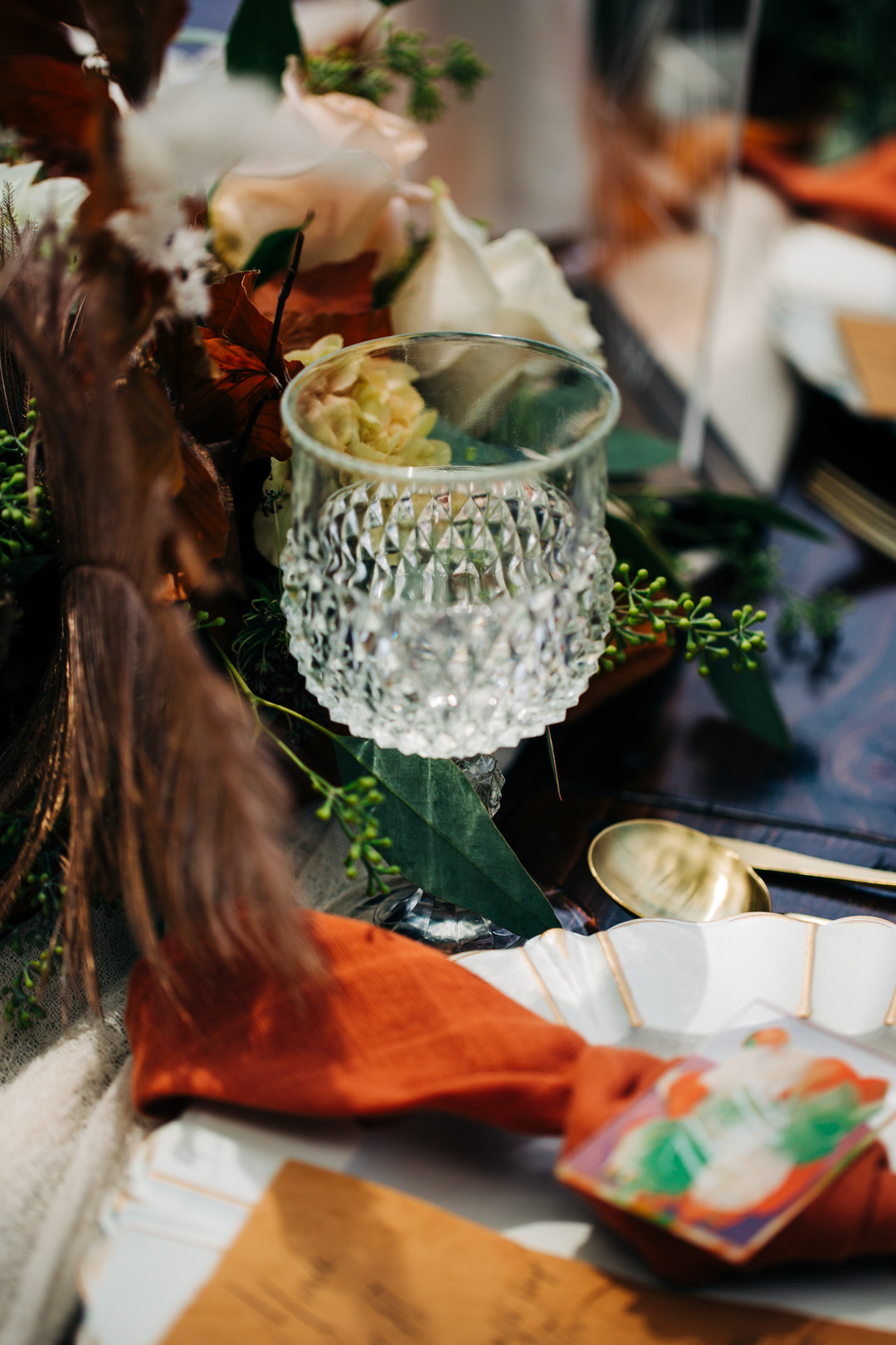 crystal glass in wedding table setting for fall