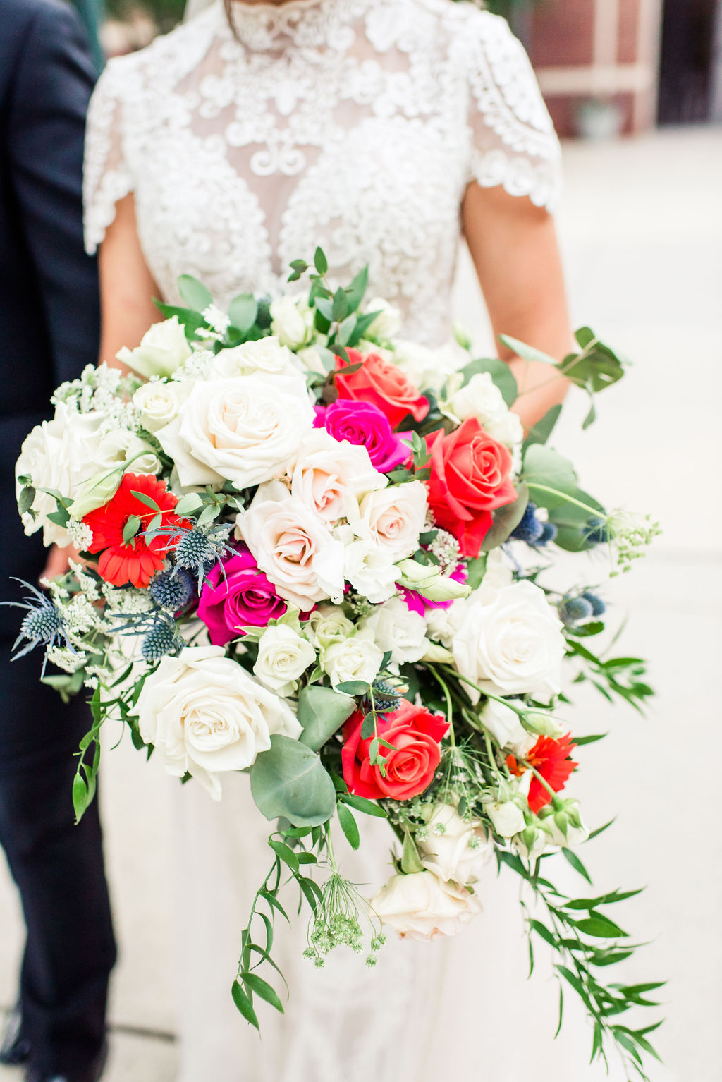 pink orange and white wedding bouquet