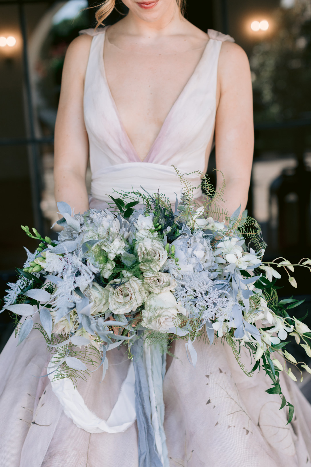 Il Mercato Wedding, New Orleans Wedding, Magazine Street Wedding, pastel bouquet, pastel bridal gown
