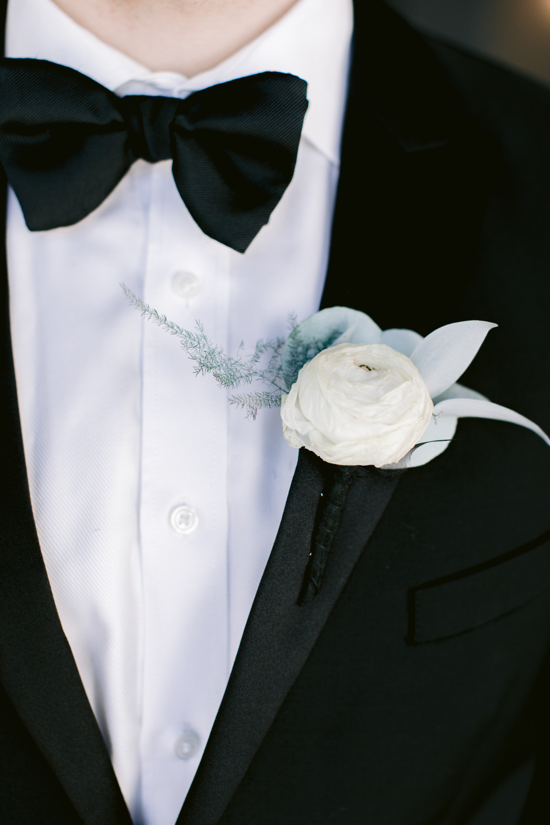 Il Mercato Wedding, New Orleans Wedding, Magazine Street Wedding, groom in all black tux, white groom boutonniere