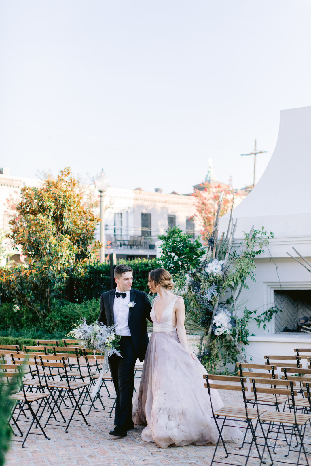 Il Mercato Wedding, New Orleans Wedding, Magazine Street Wedding, outdoor wedding New Orleans, groom hold bouquet