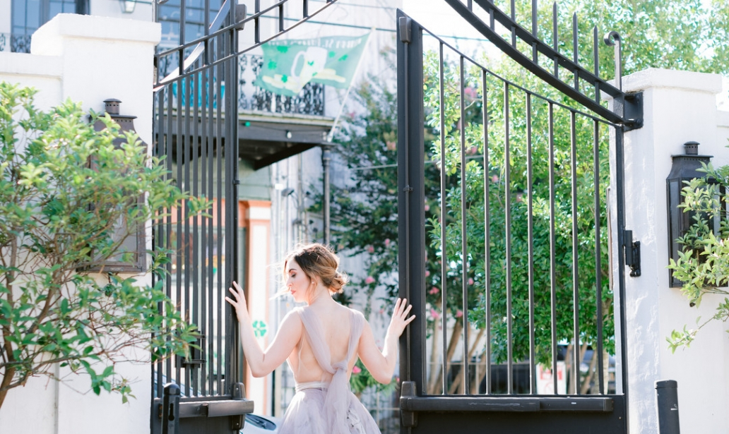 Il Mercato Wedding, New Orleans Wedding, Magazine Street Wedding, gates at Il Mercato, printed bridal gown