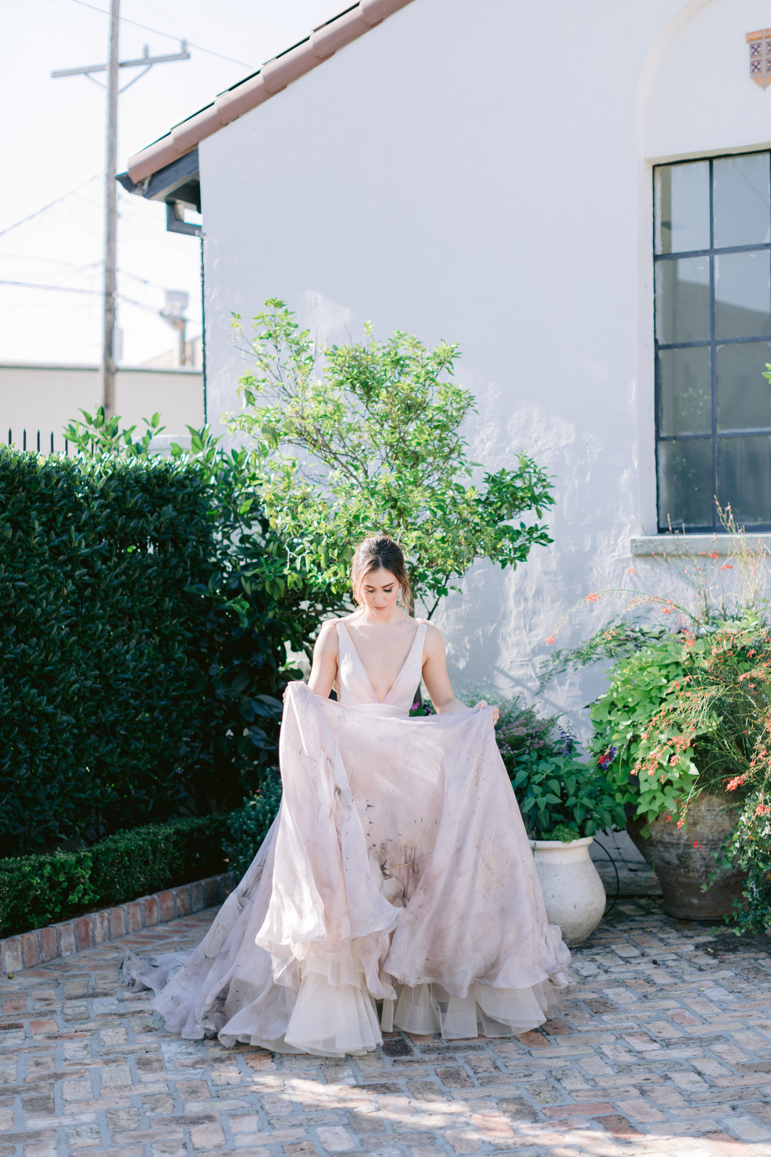 Il Mercato Wedding, New Orleans Wedding, Magazine Street Wedding, colorful wedding dress, watercolor bridal gown
