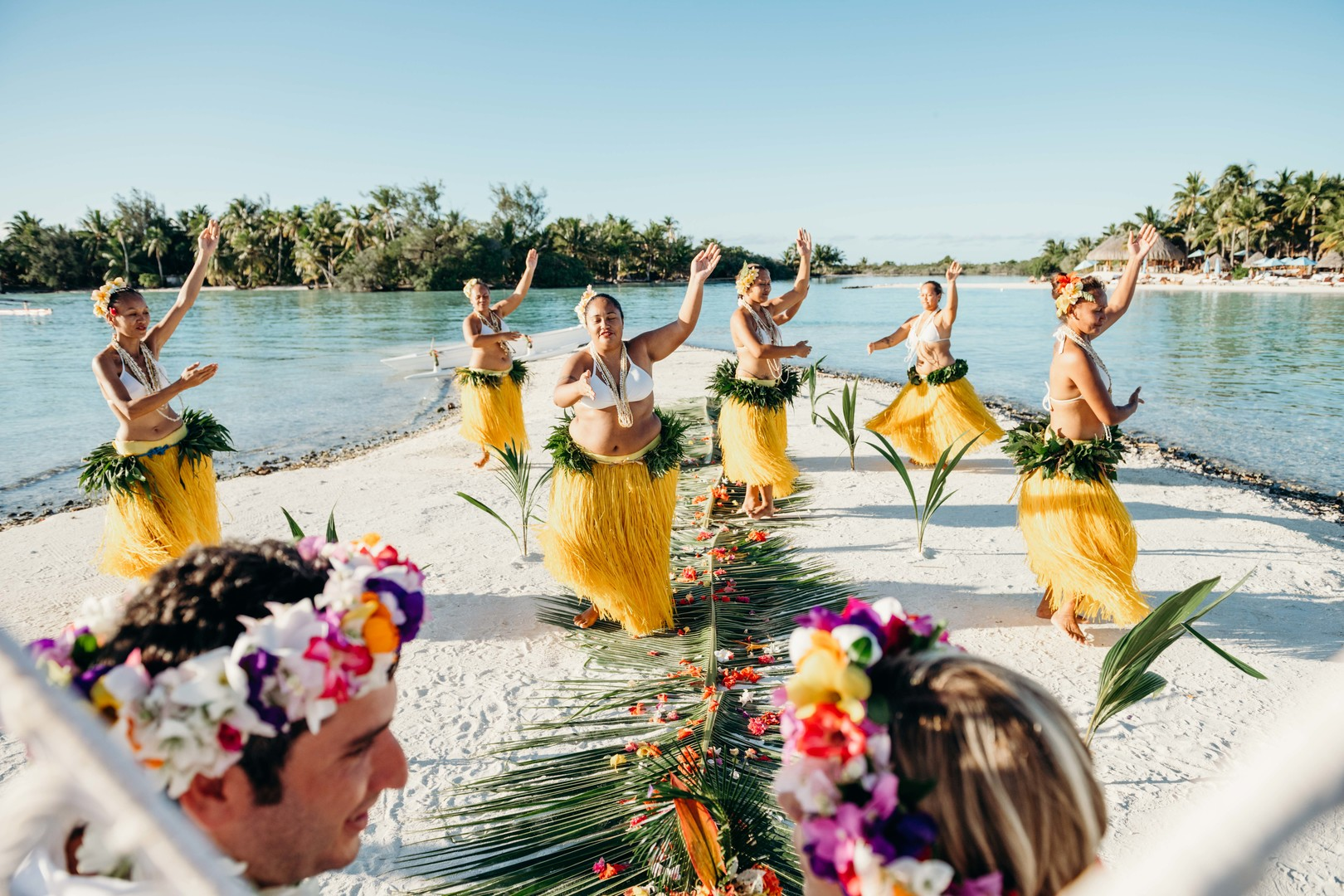 Ceremonial grounds of wedding in bora bora, polynesian wedding dance