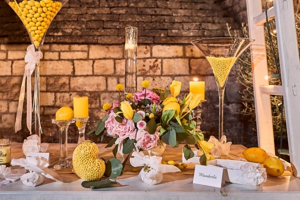 lemon and yellow wedding candy table