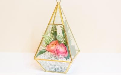 DIY Geometric Glass Floral Centerpiece