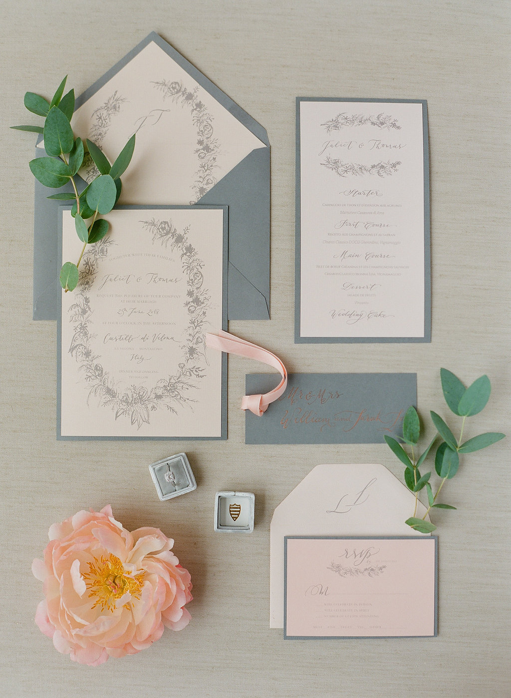 grey peach and white invitation suite