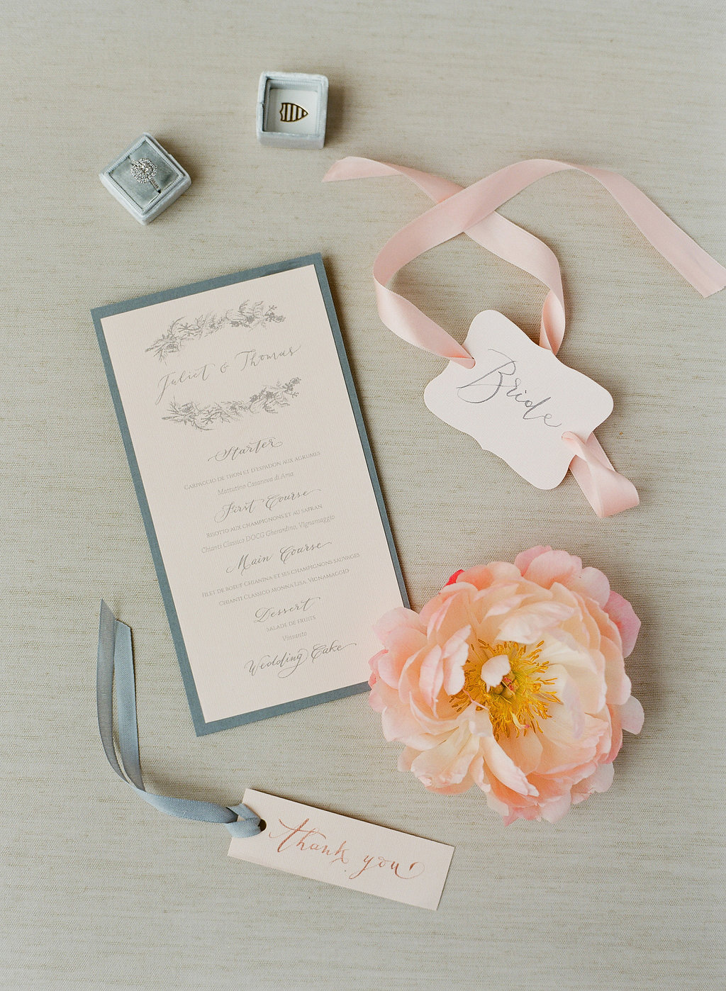 peach grey and white wedding program