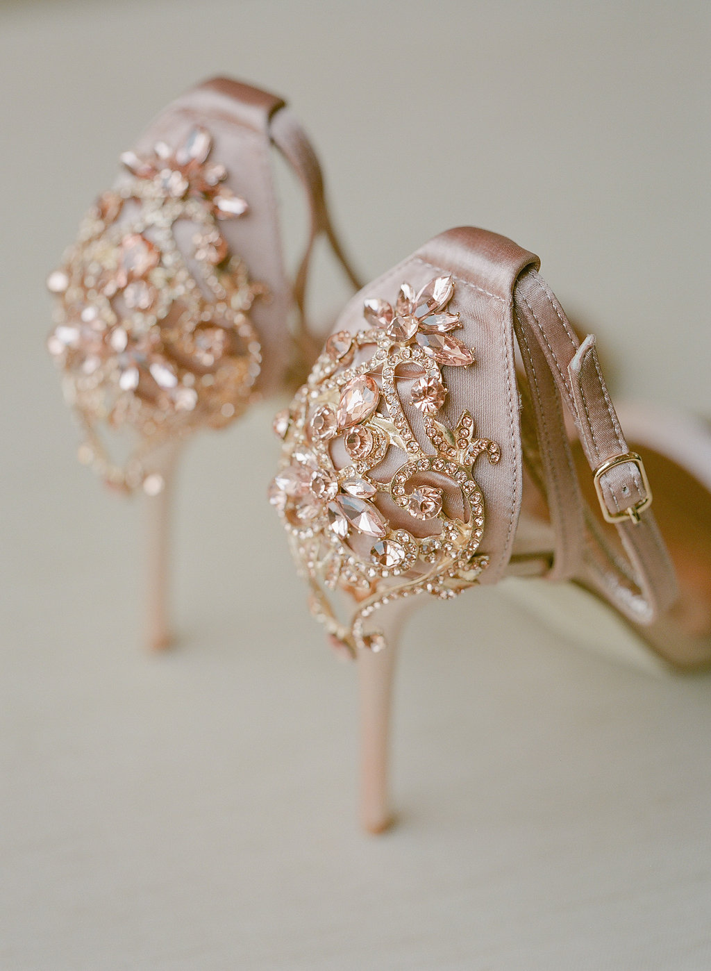 rose gold jewel encrusted heels