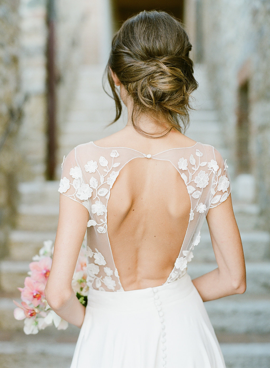 gorgeous open back Rime Arodaky wedding dress