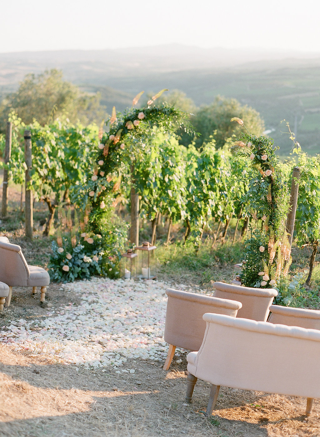 tuscan winery outdoor ceremony setup