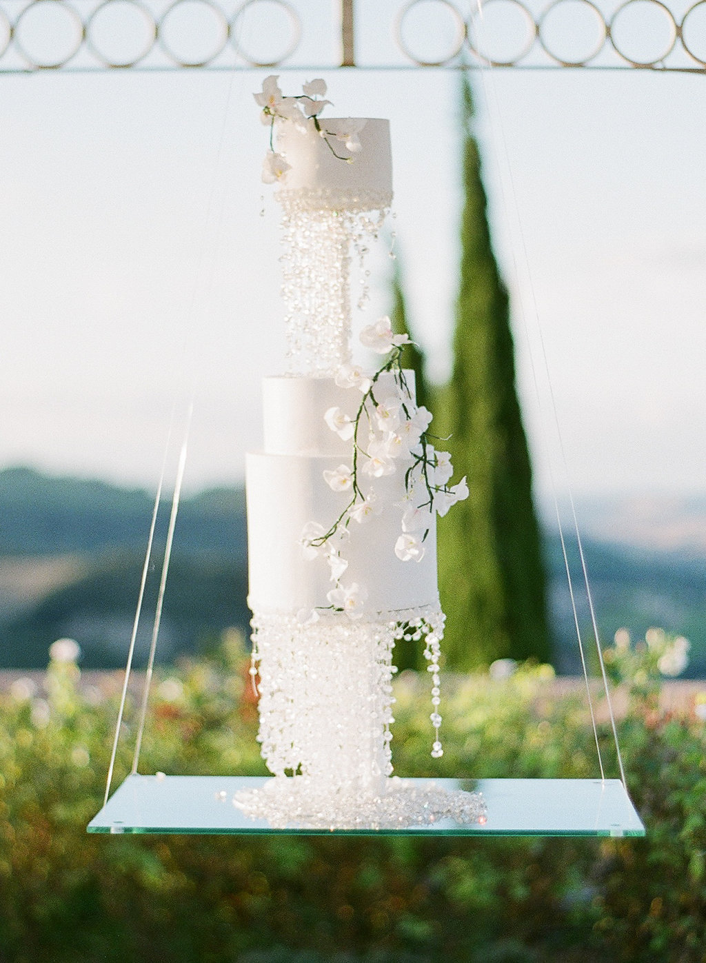 floating crystal wedding cake