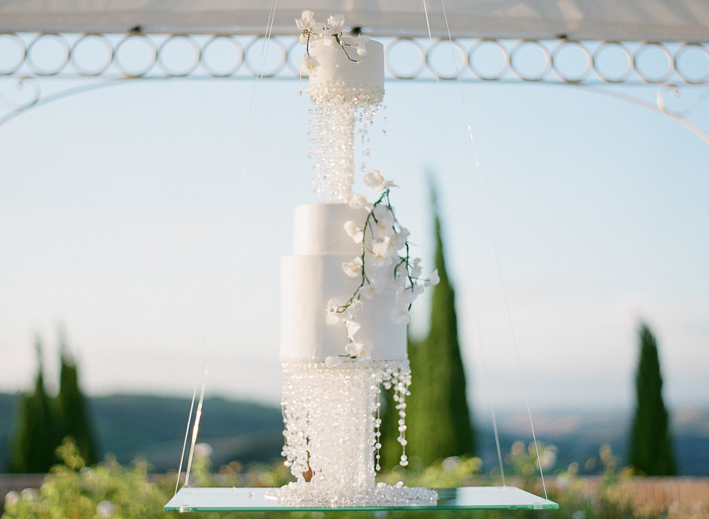 suspended crystal wedding cake
