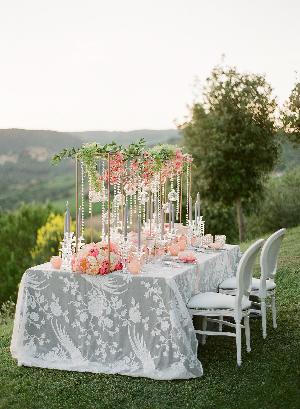 coral and peach reception decor