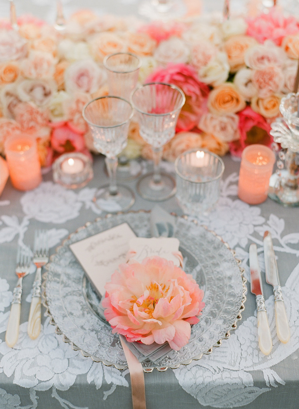 coral charm peony for tablescape