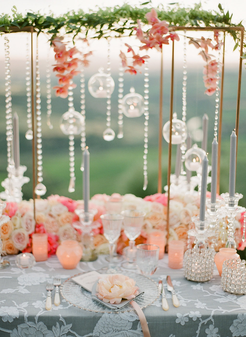 orb and crystal centerpiece