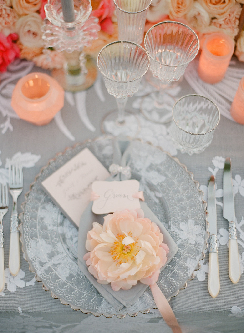 peony on charger for table decor