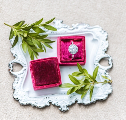 crimson ring box flat lay