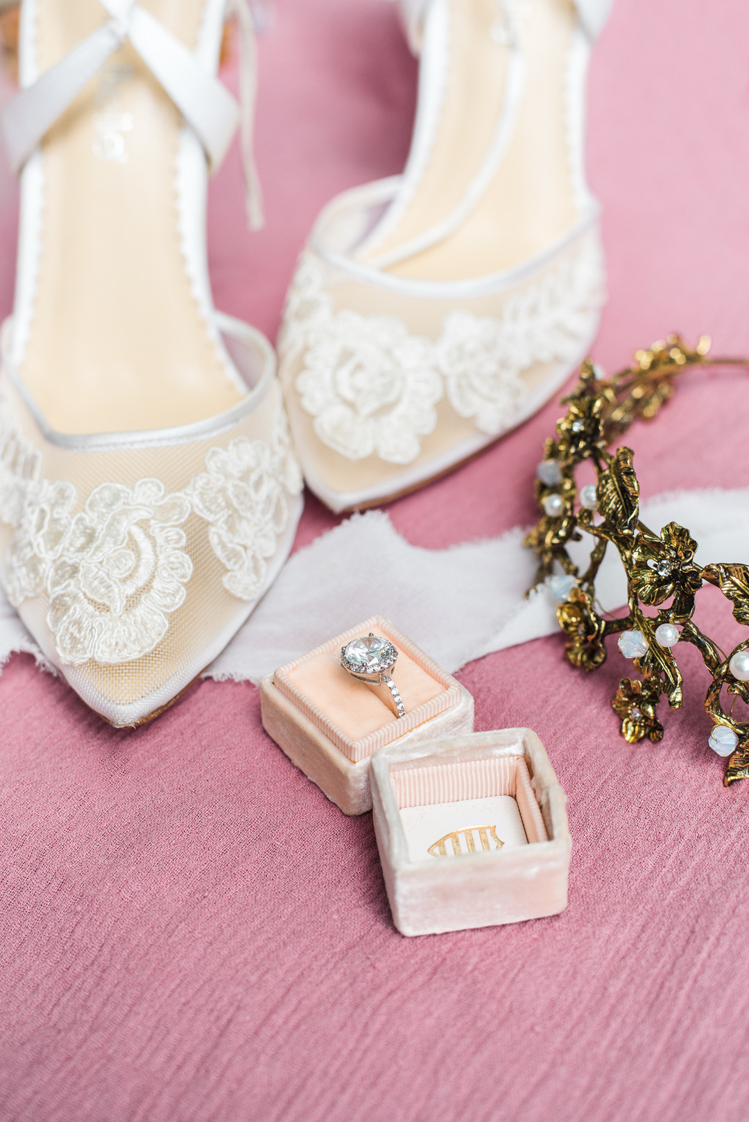 bella belle lace applique illusion shoes, antique gold crown and a blush ring box